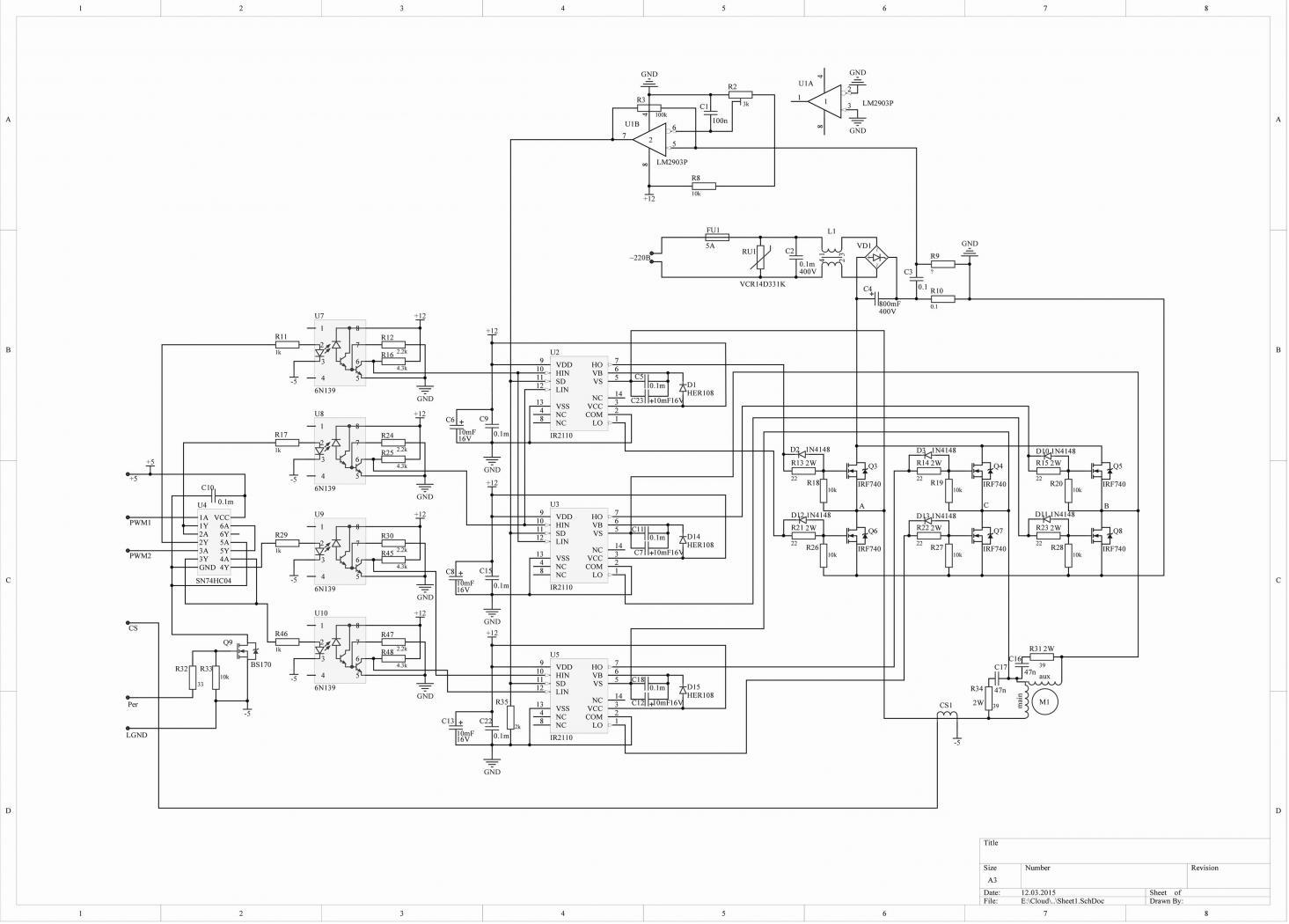 Преобразователь однофазного напряжения в трехфазное - Схема 60